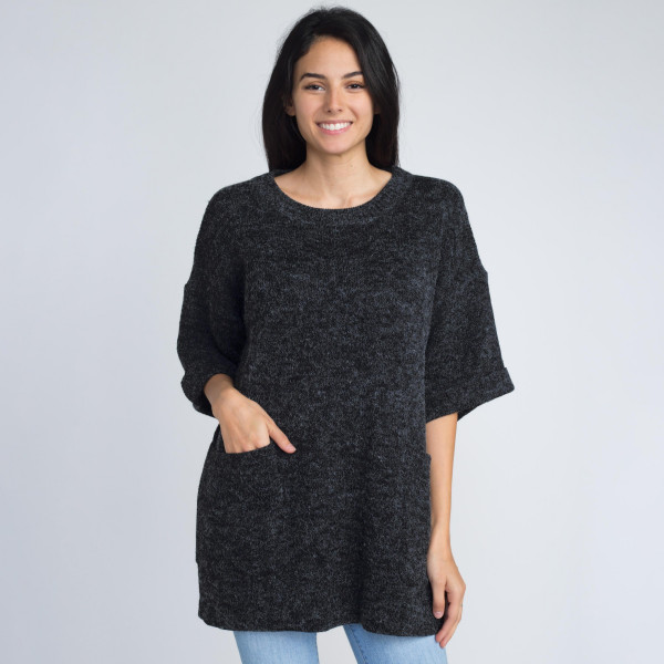 Cute heavy knitted sweater- Sure to keep you cozy. With two front pockets. 55% Acrylic 45% Cotton