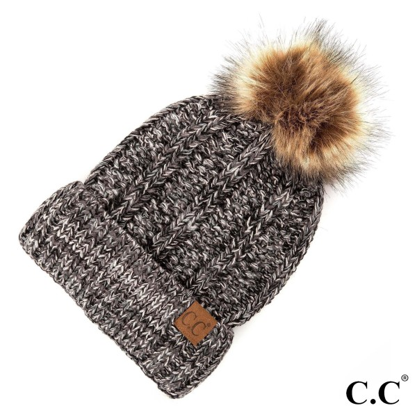 YJ-820-CC Fuzzy lined beanie with faux fur Pom. 100% Acrylic - One size.