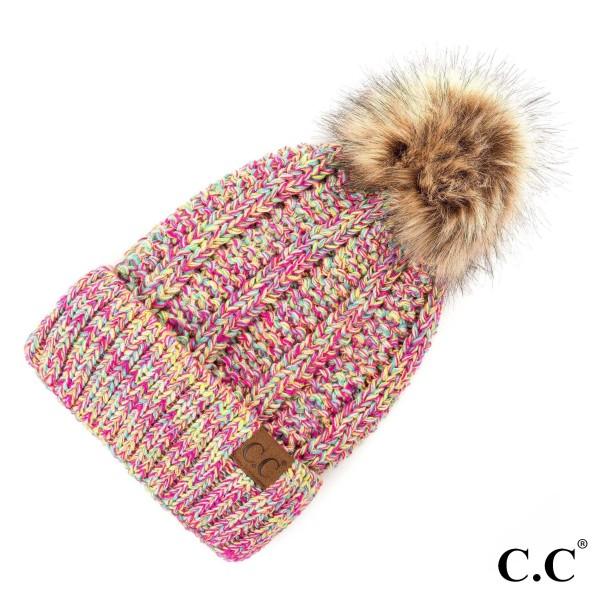 C.C YJ-820 MIX  Fuzzy lined beanie with faux fur pom  - 100% Acrylic - One size fits most