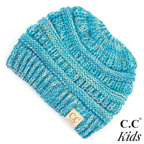 SF-816-KIDS-CC Multi color kids beanie tail hat. 100% Acrylic- One size.