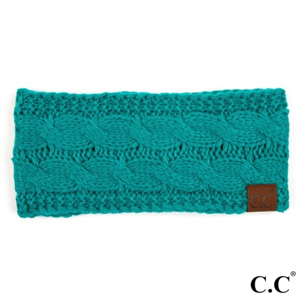 "HW-20: Solid cable knit C.C headwrap with an 18"" circumference and 4"" width. 100% acrylic."