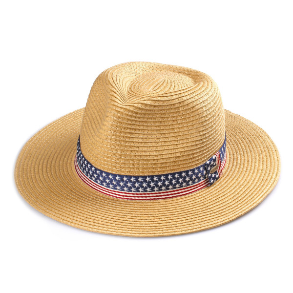 ST-354-CC straw paper panama hat with American flag ribbon band. 100% paper. One size.