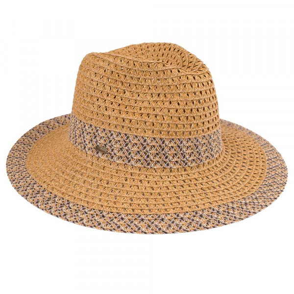St-400 CC- paper straw panama hat with zigzag pattern. 80% paper-20% polyester- One size.
