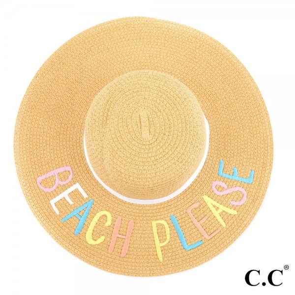 C.C ST-2000 Brim straw hat with multi color lettering and ribbon band. 100% paper straw. Inside adjustable sting. One size fits most.