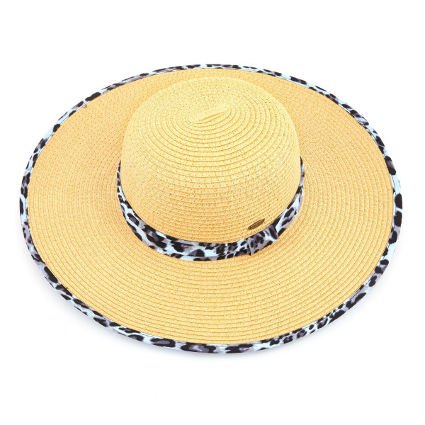 C.C ST-3004 Brim straw hat with leopard fabric pattern. 20% cotton-80% paper straw. Inside adjustable sting. One size fits most.