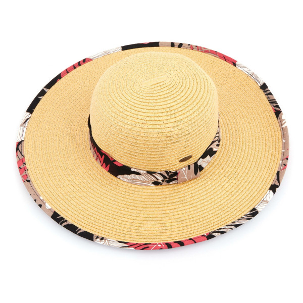 C.C ST-3005 Brim straw hat with tropical fabric pattern. 20% cotton-80% paper straw. Inside adjustable sting. One size fits most.