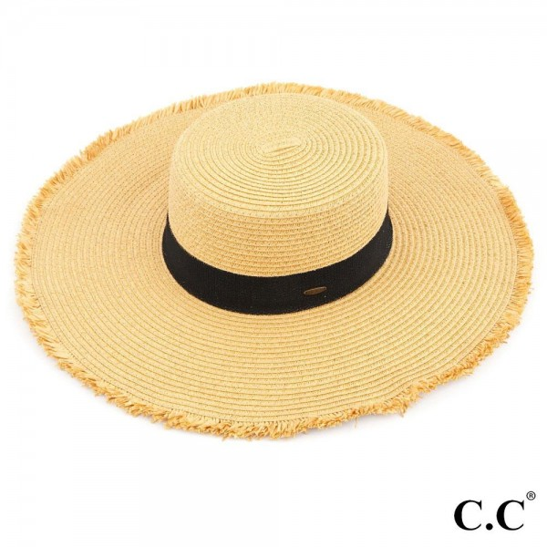 C.C ST-3007 Frayed edge wide brim straw hat. 100% paper straw. Inside adjustable sting. One size fits most.