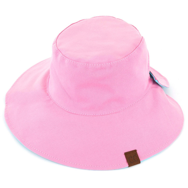 ST-2224- Solid reversible pony tail bucket hat. 100% cotton. One size.