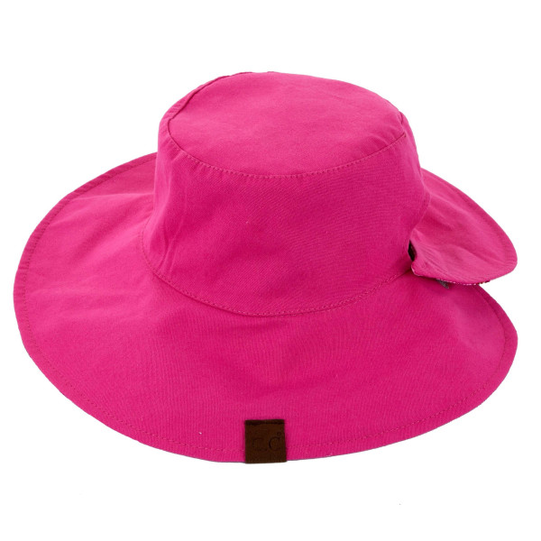 C.C. ST 2245- Reversible ponytail bucket hat with solid and floral print. 100% cotton. One size fits most.