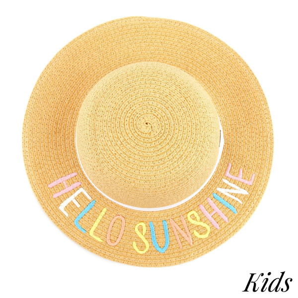 C.C Kids 2000 Brim straw hat with multi color lettering and ribbon. 100% paper straw. One size.