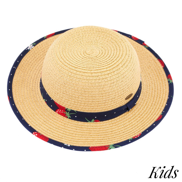 C.C Kids-2001 Brim straw hat with strawberry fabric pattern. 20% cotton-80% paper straw. Inside adjustable string. One size fits most.