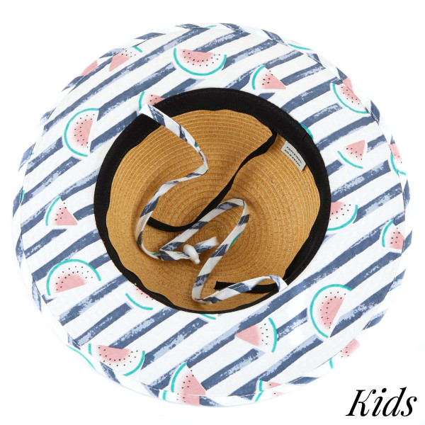 C.C Kids 2003- Brim straw hat with watermelon fabric pattern. 20% cotton-80% paper straw, Inside adjustable string. One size fits most.