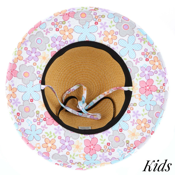 C.C Kids-2002- Brim straw hat with flower fabric pattern. 20% cotton-80% paper straw, Inside adjustable string. One size fits most.