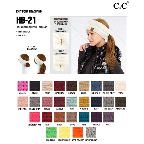 C.C HB-21 Solid ribbed ponytail headband  - 100% Acrylic - One size fits most