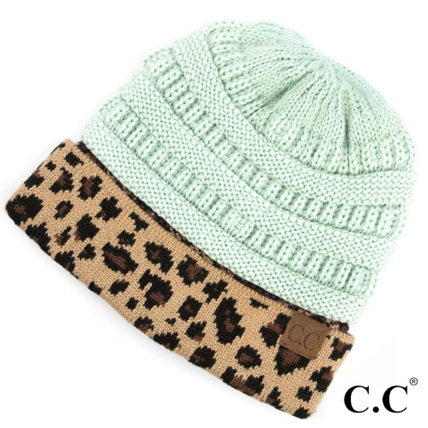 C.C HAT-45  Solid color beanie with leopard print cuff  - One size fits most - 100% Acrylic