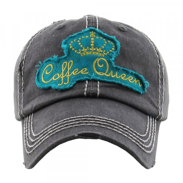 Coffee queen embroidered, vintage style ball cap with washed-look details.  - 100% cotton - Adjustable back strap - One size fits most