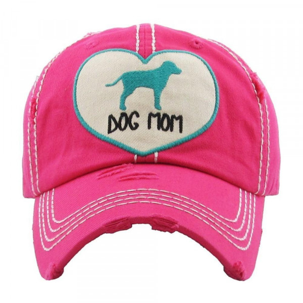 Dog mom embroidered vintage style ball cap with washed-look details. - 100% cotton - Adjustable back strap - One size fits most
