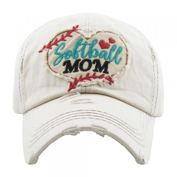 Softball mom embroidered, vintage style ball cap with washed-look details.  - 100% cotton - Adjustable back strap - One size fits most
