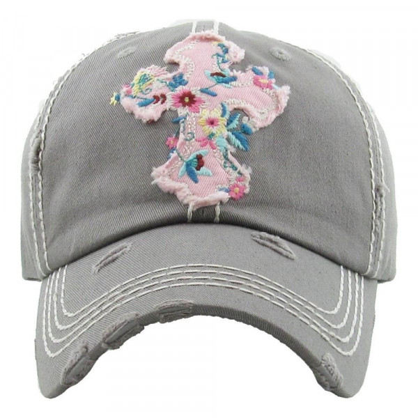 """Light gray """"Floral Cross"""" embroidered, vintage style ball cap with washed-look details.  - 100% cotton - Adjustable back strap - One size fits most"""