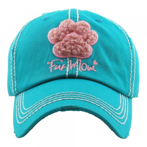 """Paw-print Fur Mom""  embroidered, vintage style ball cap with washed-look details.  - 100% cotton - Adjustable back strap - One size fits most"