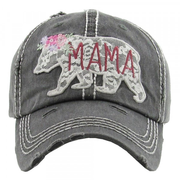 """""""Floral Mama Bear"""" embroidered, vintage style ball cap with washed-look details.  - 100% cotton - Adjustable back strap - One size fits most"""