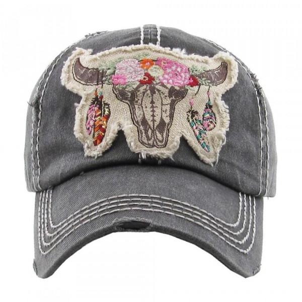 """""""Floral Cow Skull"""" embroidered, vintage style ball cap with washed-look details.  - 100% cotton - Adjustable back strap - One size fits most"""