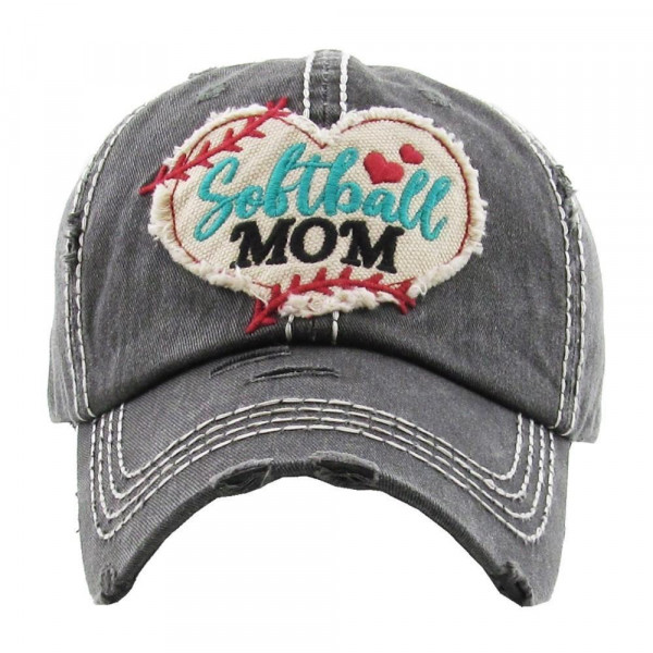 Softball mom embroidered, vintage style ball cap with washed-look details.  - 100% cotton - Adjustable velcro closure - One size fits most