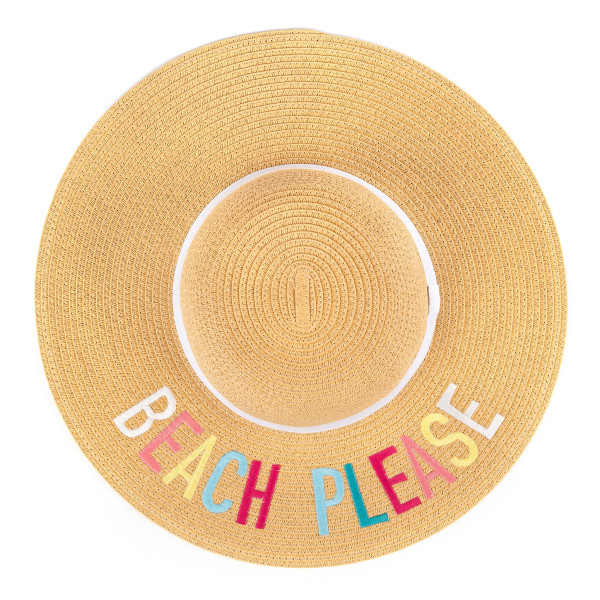C.C ST-2017- Paper brim straw hat with lettering and ribbon band. 100% paper. One size.