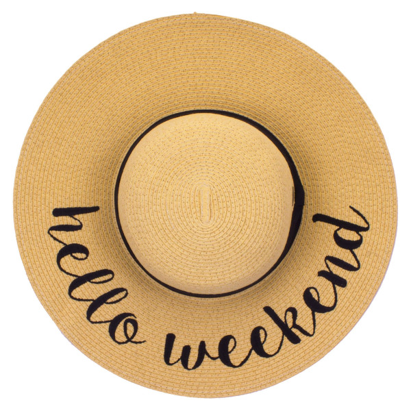 "C.C ST-2017, wide-brim floppy beach hat featuring ""Hello Weekend"". This hat is crushable/packable and able to hold it's shape. Brim measures 4"" in width and hat is 15.5"" in total diameter. UPF 50+  One size fits most.  Composition: 100% Paper."
