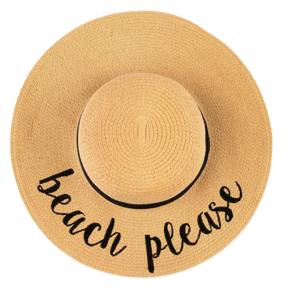 "C.C ST-2017, wide-brim floppy beach hat featuring ""Beach Please"". This hat is crushable/packable and able to hold it's shape. Brim measures 4"" in width and hat is 15.5"" in total diameter. UPF 50+  One size fits most.  Composition: 100% Paper."