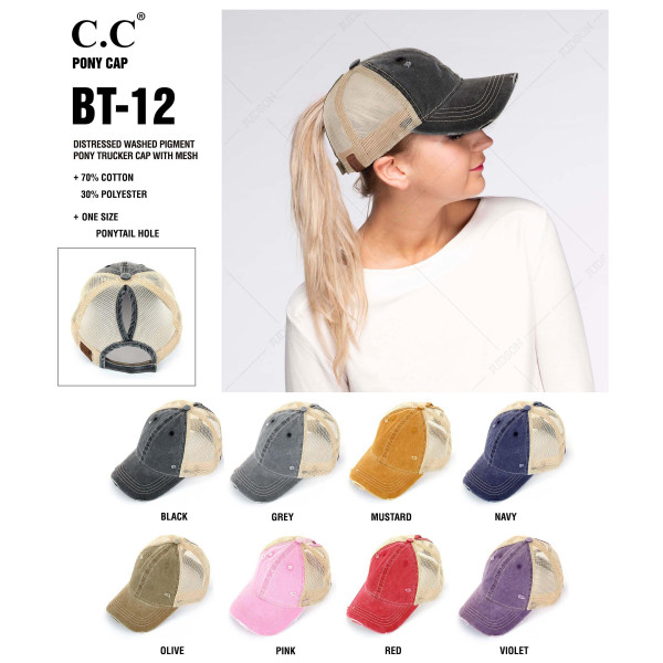 C.C. BT-12  Vintage, distressed ponytail cap with mesh back   - 70% Cotton, 30% Polyester - Adjustable velcro closure - One size fits most