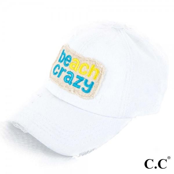 C.C-BT-761 Beach crazy vintage washed distressed cotton pony cap. 100% cotton. Once size.