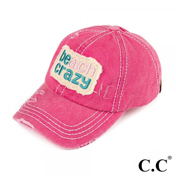 C.C-BT-761 Beach crazy vintage washed distressed cotton pony cap. 100% cotton. Once size.