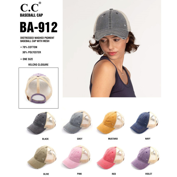C.C. BA-912. Vintage, distressed cotton pony cap with mesh back and adjustable velcro closure.   One size fits most.   Composition: 100% Cotton.
