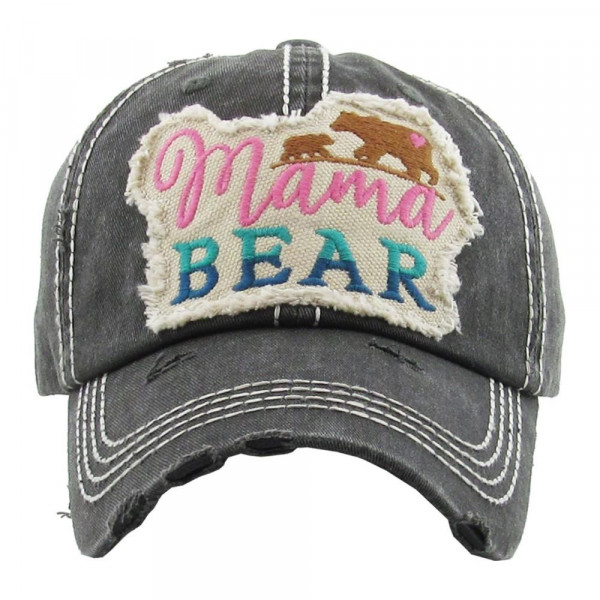 """Vintage, distressed baseball cap featuring """"Mama Bear"""" embroidered details.   - 100% Cotton - Adjustable velcro closure - One size fits most"""