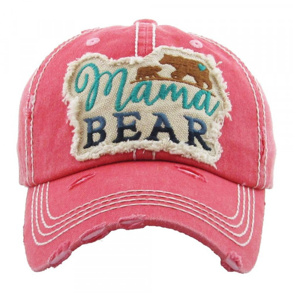 "Vintage, distressed baseball cap featuring ""Mama Bear"" embroidered details.   - 100% Cotton - Adjustable velcro closure - One size fits most"