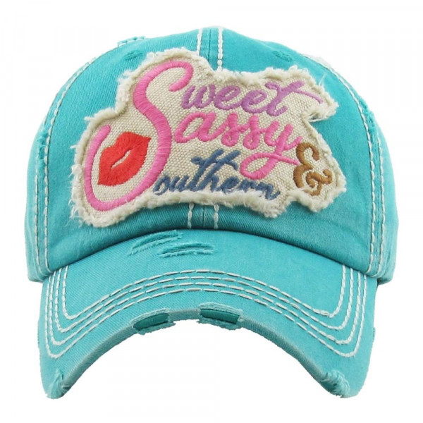 """Vintage, distressed baseball cap featuring """"Sweet Sassy & Southern"""" embroidered detail.  - 100% Cotton - Adjustable velcro closure - One size fits most"""