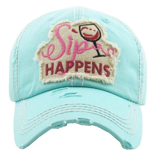 """Vintage, distressed baseball cap featuring """"Sip Happens"""" embroidered detail.  - 100% Cotton - Adjustable velcro closure - One size fits most"""
