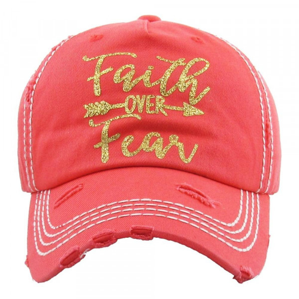 """Vintage, distressed baseball cap featuring gold glitter """"Faith over Fear"""" vinyl detail.  - 100% Cotton - Adjustable velcro closure - One size fits most"""