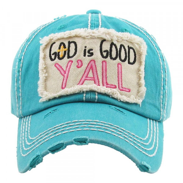 """Vintage, distressed baseball cap featuring """"God is Good Y'all"""" embroidered details.  - 100% Cotton  - Adjustable velcro closure - One size fits most"""