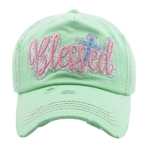 """""""Blessed"""" embroidered, vintage style ball cap with washed-look details.   - 100% cotton  - Adjustable back strap  - One size fits most"""