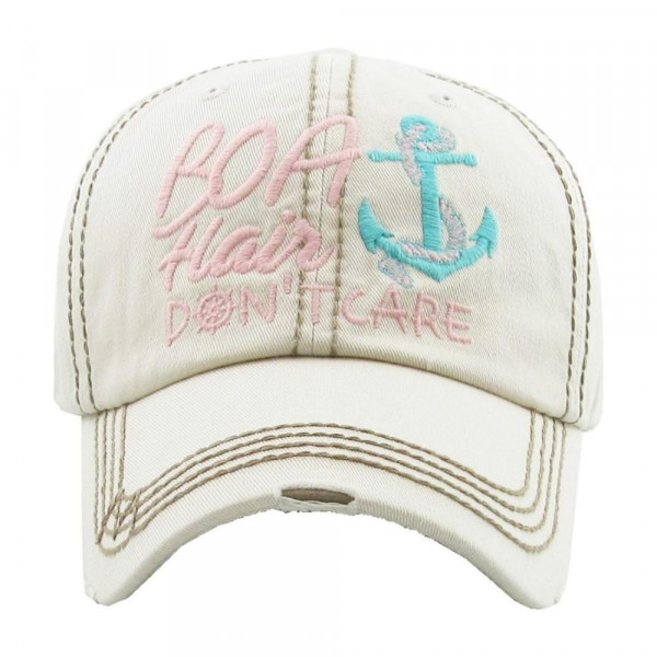 """""""Boat Hair Don't Care"""" embroidered, vintage style ball cap with washed-look details.   - 100% cotton  - Adjustable back strap  - One size fits most"""
