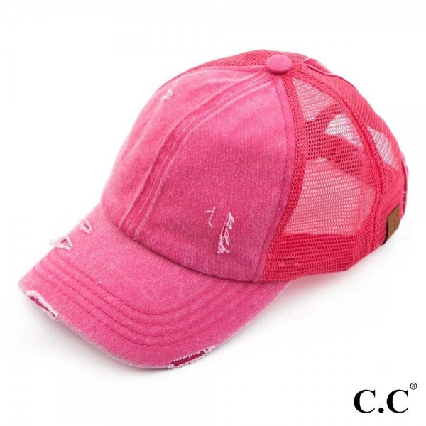 C.C BT-13 hot pink distressed vintage style ponytail cap. Mesh back and velcro closure. 100% Cotton. One size fits most.