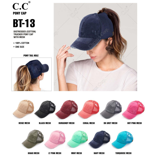 C.C BT-13 distressed vintage style ponytail cap. Mesh back and velcro closure. 100% Cotton. One size fits most.