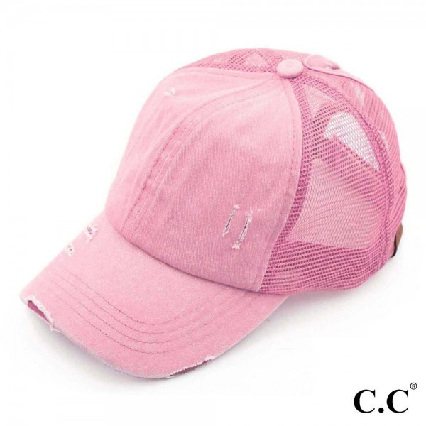 C.C BT-13 light pink distressed vintage style ponytail cap. Mesh back and velcro closure. 100% Cotton. One size fits most.