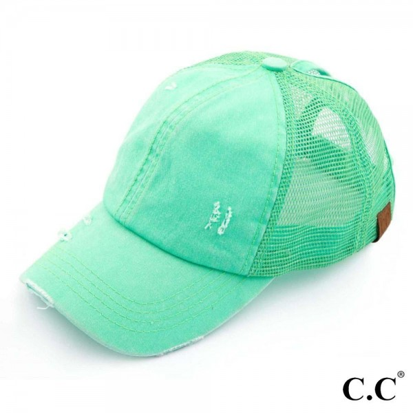 C.C BT-13 mint distressed vintage style ponytail cap. Mesh back and velcro closure. 100% Cotton. One size fits most.