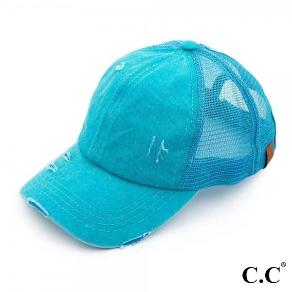 C.C BT-13 turquoise distressed vintage style ponytail cap. Mesh back and velcro closure. 100% Cotton. One size fits most.