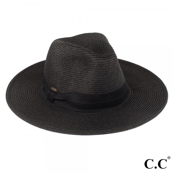 "C.C ST-02, wide brim sun hat featuring a solid ribbon. Brim measures approximately 3.5"" wide. Approximately 14"" in diameter overall. UPF 50+  One size fits most.  Composition: 80% Paper 20% Polyester."