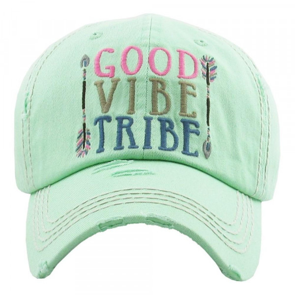 """Vintage, distressed baseball cap featuring """"Good Vibe Tribe"""" embroidered details.   - 100% Cotton - Adjustable velcro closure - One size fits most"""