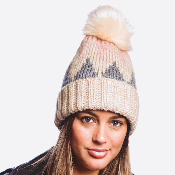 Knit faux fur pom beanie featuring faux fur lined inside details.   - One size fits most - 80% Polyester, 20% Cashmere